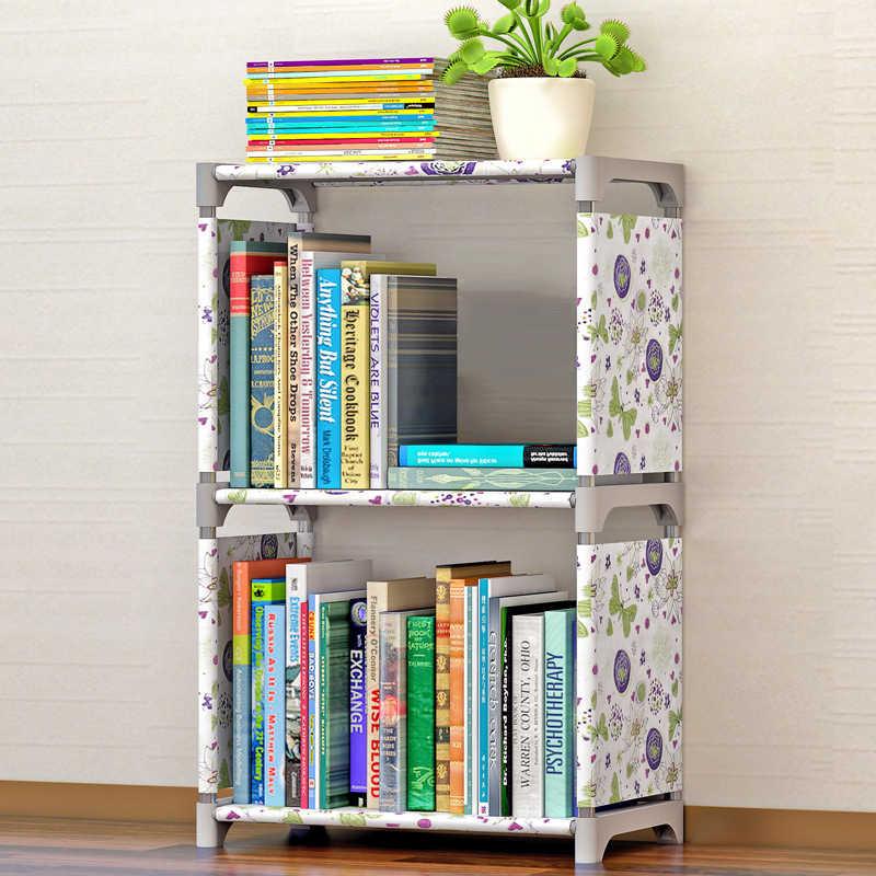 แฟชั่นที่เรียบง่ายไม่ทอชั้นวางหนังสือ 2 ชั้นห้องนอนห้องนอนชั้นวางของตู้หนังสือเด็กประกอบตู้หนังสือ