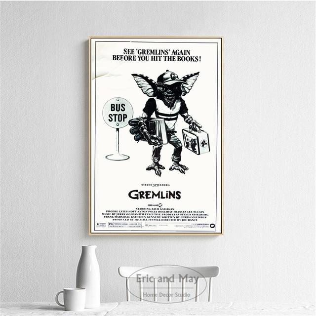 Gremlins 3 pièces noir et blanc affiches et impressions mur Art toile peinture pour salon décoration décor à la maison sans cadre Quadro