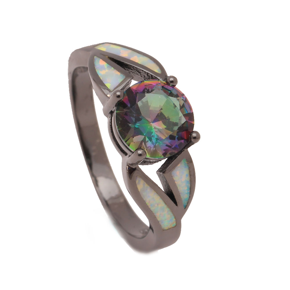 Mystic Created Engagement Rings Rainbow Purple Blue Black Goldcolor  Jewelry Women 8mm Cubic Zircon Zircon Opal Ring