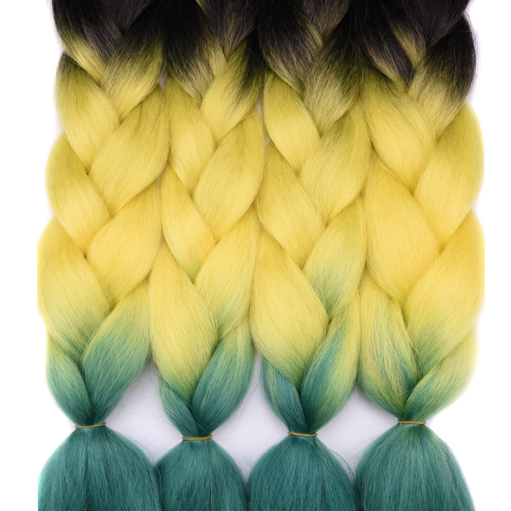 1pack 24 100G/PC Crochet Braids Hair Extensions Full Hair Synthetic Yaki Braiding Hair Bulk Green Purple Ombre Color Style ...