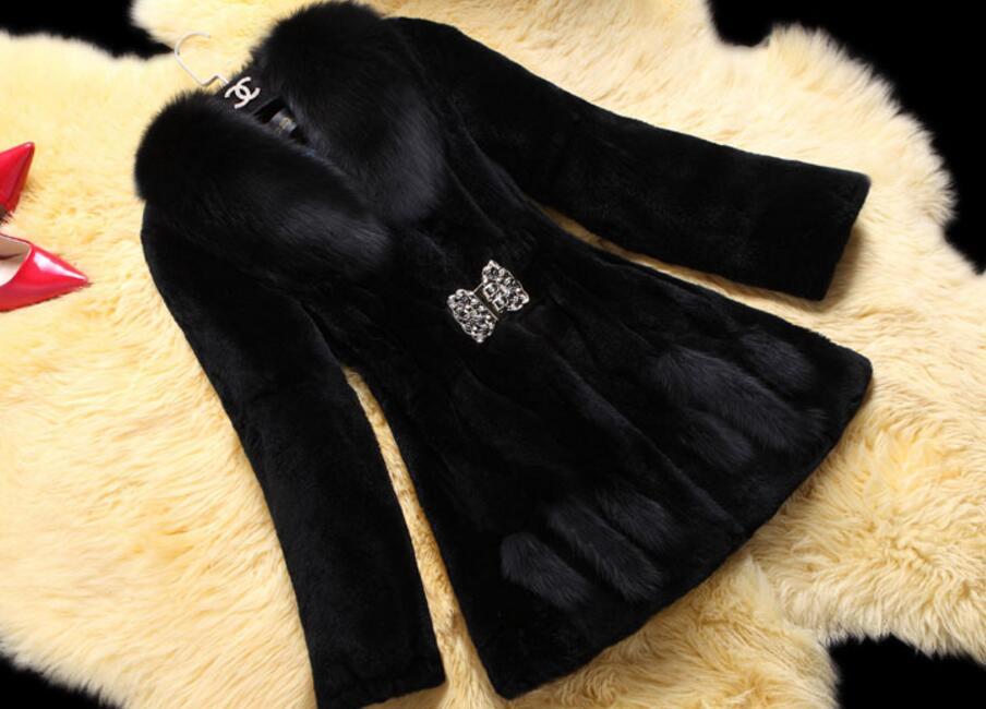 Magnifique Femmes Chaud light Longues Vêtements Red De wine Tan D'hiver Hiver Manteaux black Manches Faux White Épais Fourrure rvrHE6Uq