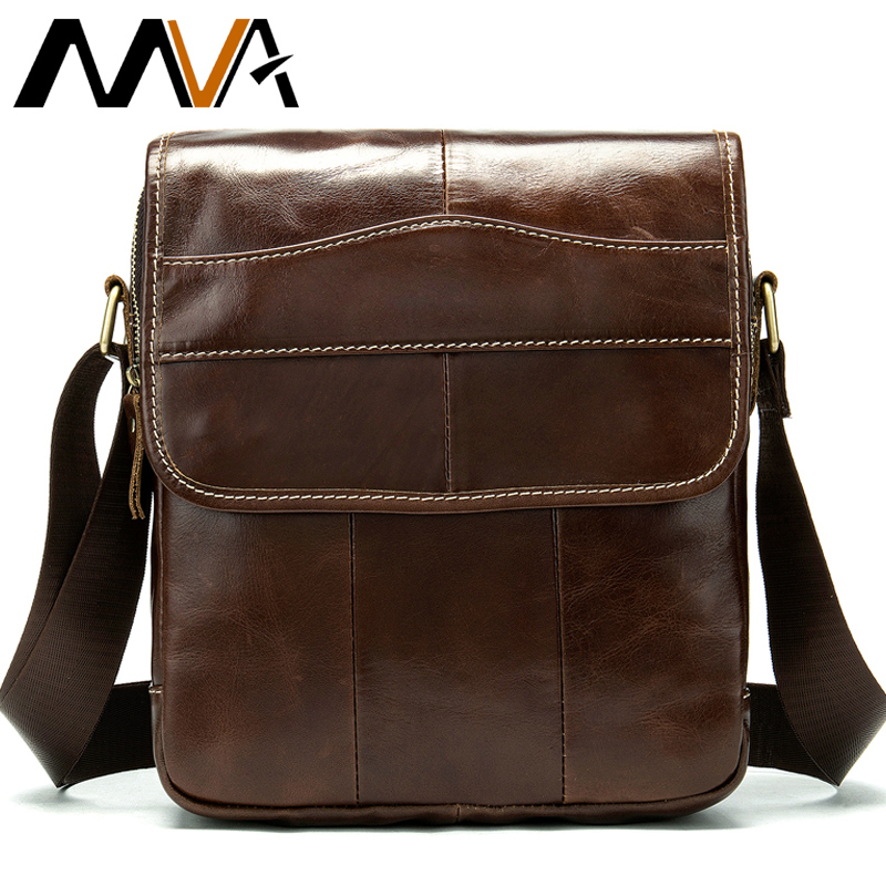 MVA Messenger Bag Menns Shoulder Bag Menns ekte lær Crossbody Vesker til menn Leather Casual Small Flap for ipad / bok 1121
