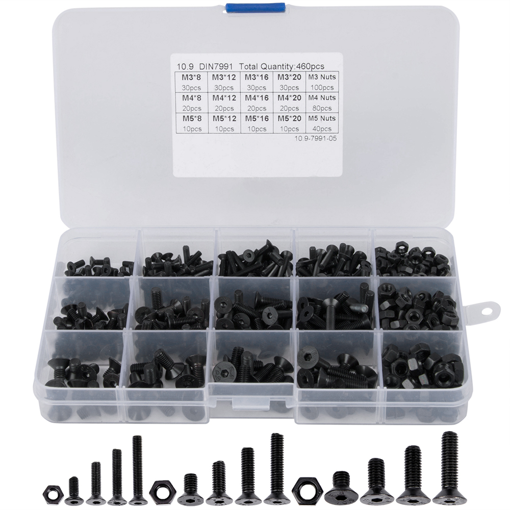 460Pcs M3 M4 M5 Alloy Steel Countersunk Flat Head Hex Socket Cap Screws Nuts Set Assortment Kit Precise Metric Bolts Nuts Set