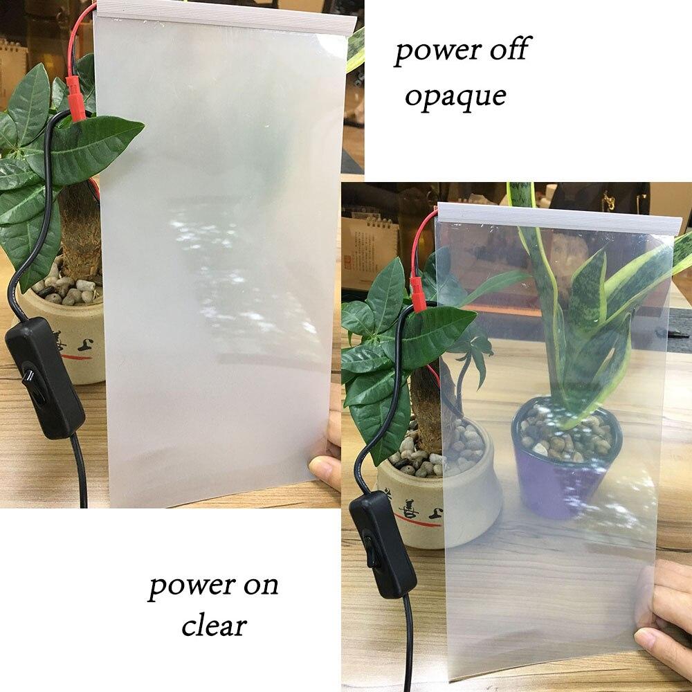 2 pièces 345x155mm électrique auto-adhésif PDLC Film intelligent verre fenêtre porte teinte Film intelligent