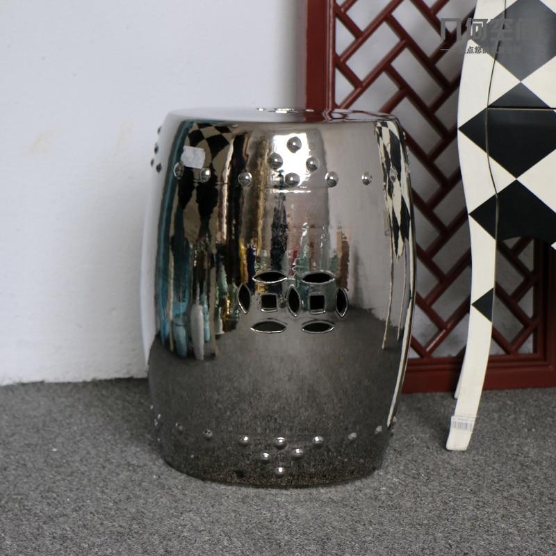 Jingdezhen High Temperature Fired Silver Glazed Porcelain Ceramic Garden  Drum Stools