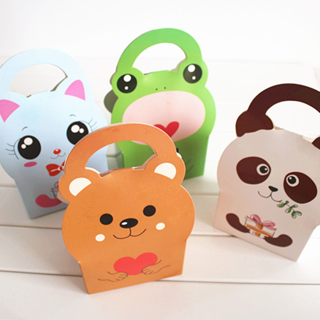 Us 30 9 30pcs Baking Paper Box Mini Cartoon Kt Bag Chocolate Biscuit Macaron Cow Candy In Gift Bags Wring Supplies From Home