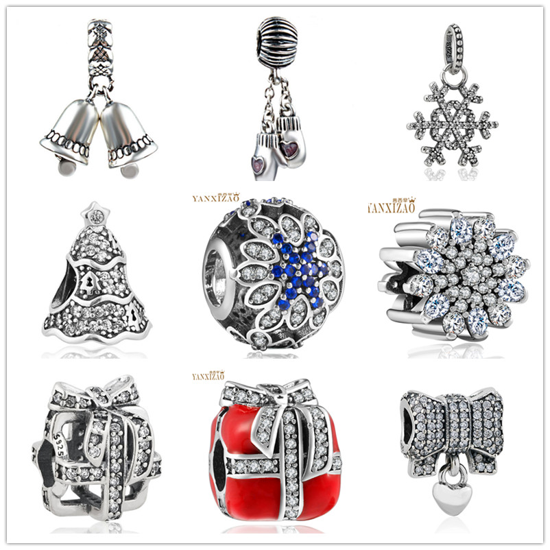 Hot Perak Eropa CZ Charm Beads Fit Pandora Gaya Gelang Liontin Kalung DIY Perhiasan Asli