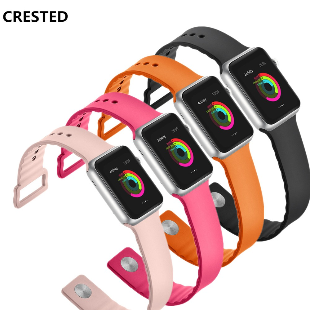 Sport For Apple Watch Band 42mm 38mm Iwatch Series 5 4 3 2 1 Wrist Bands Link Bracelet Rubber Watchband Belt Fashion Correa