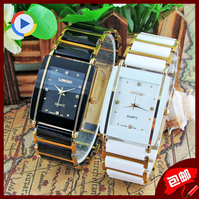 Fashion Longbo Brand Diamonds Elegant Men Ladies Dress Wristwatches Analog Quartz Ceramic Steel Square Clock Couple Lovers Watch