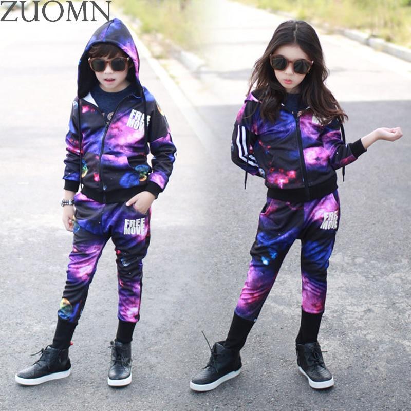 Spring Girls Sports Suit Children Tracksuit lothing Sets Baby Kids Sportswear Big Child Hoodies Jacket Pants Boys Twinset GH380