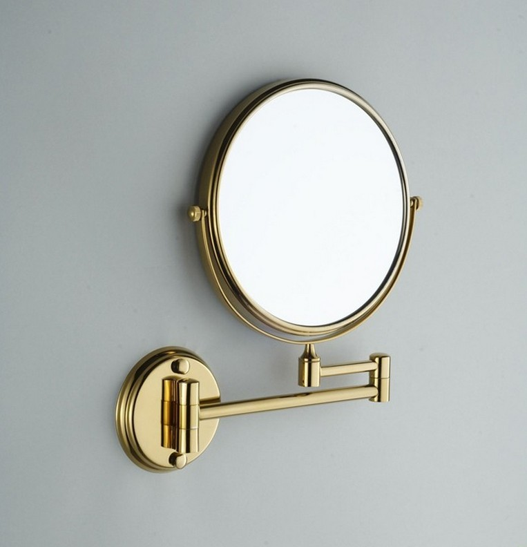 8 Inch Gold Round  Wall Mirror Vanity Mirror Cosmetic Mirror Double-sided 1X3X magnifying mirror Free Shipping