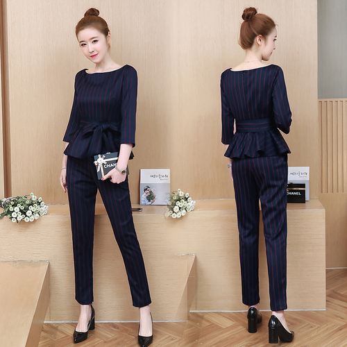 Blue Striped Office Two Piece Set Women Long Sleeve Tops With Belt+pants Trousers Ladies Korean Sets Suits Women's Clothing 2019 32
