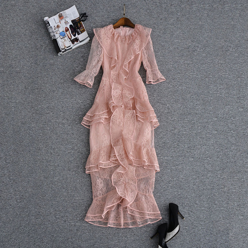 HIGH QUALITY New Fashion 2019 Runway Dress Women s 3 4 Sleeve Cascading Ruffle Lace Mermaid