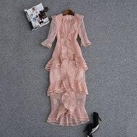 HIGH QUALITY New Fashion 2018 Runway Dress Women's 3/4 Sleeve Cascading Ruffle Lace Mermaid Dress