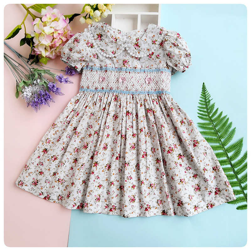 d00f7618fd866 summer kids dress 2019 for Girls Princess Embroidery smocking Dress  children Floral clothes 3-7 Years baby vestidos Dress