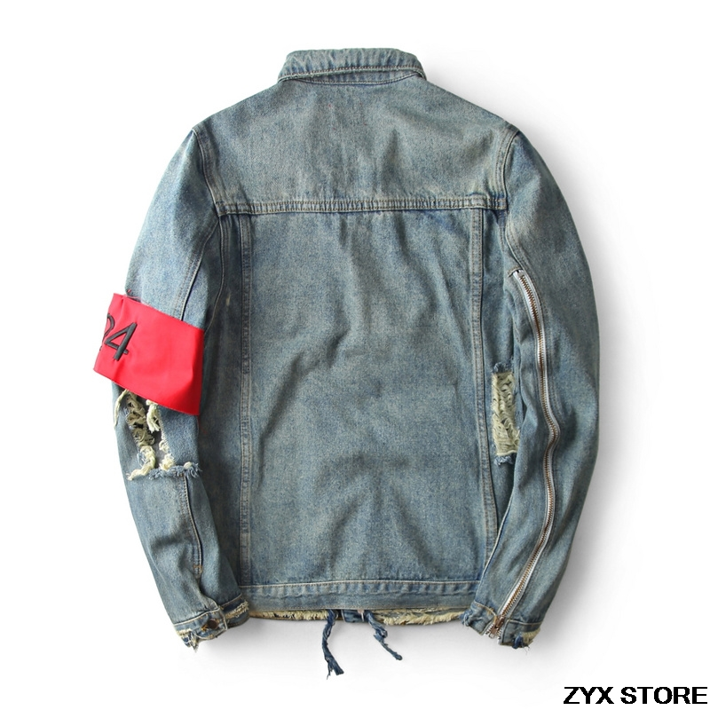 2017 Jakcet Deux Manteau Zipper Destory Streetwear Denim Cassé Jeans Hommes Vestes Femmes Trou Manches Quatre Hiphop 424 rqwY1rR