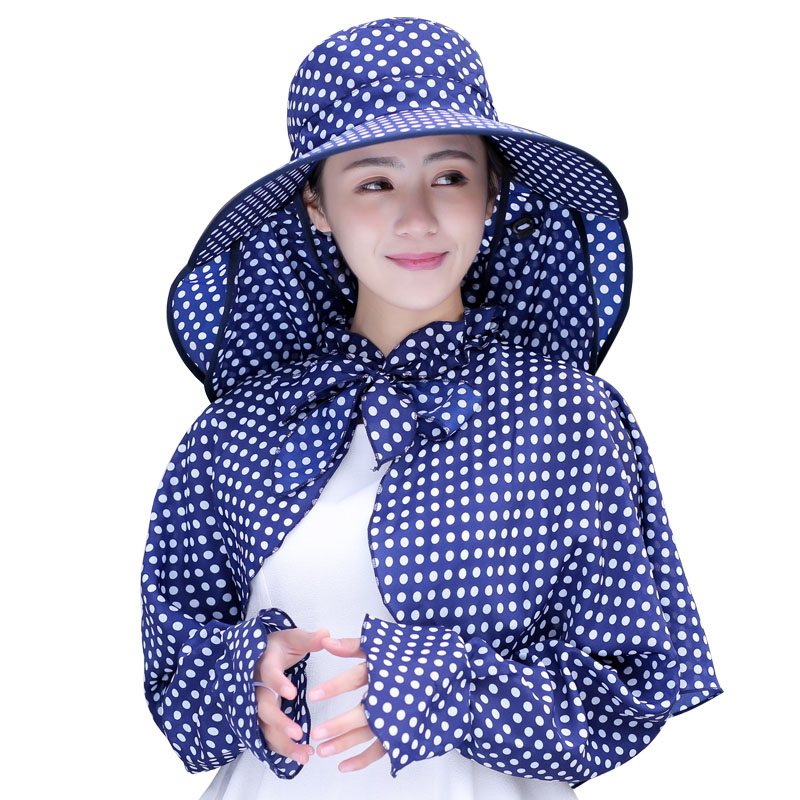 2018 Cotton Summer Dot Dot Big Eaves Hats Women Foldable Covered Face Neck Cycling Anti Uv Sun Hat Visor
