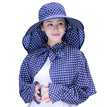 2018 Cotton Summer Dot Dot Big Eaves Hats Women Foldable Covered Face Neck Cycling Anti Uv Sun Hat Visor