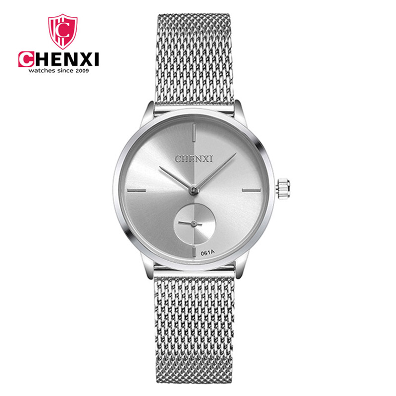 CHENXI Brand Simple Casual Women Watch Luxury Silver Minimalism Quartz Lady Wristwatch Stainless Steel Woman's Dress Clock стоимость