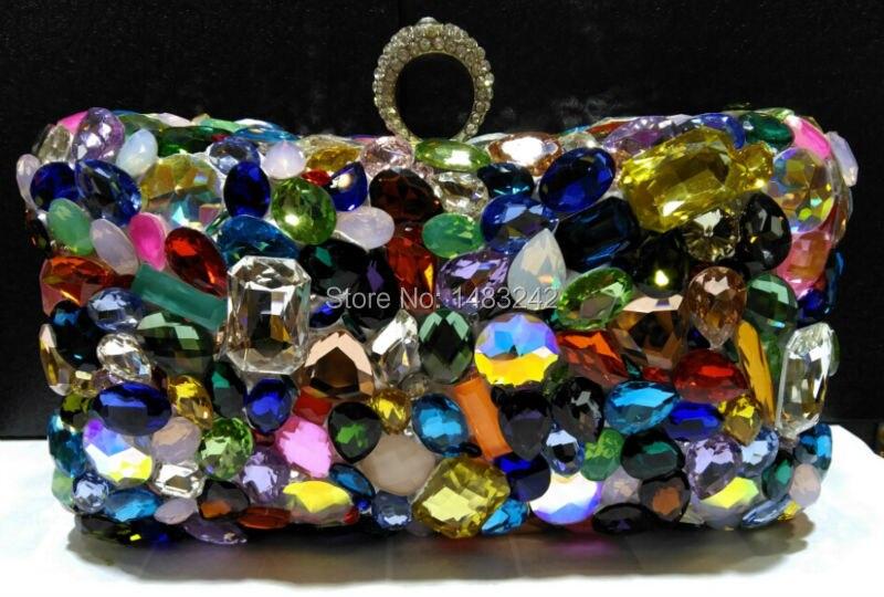 Women's Pretty Flower Crystals Evening Clutches Platinum Plated Metal Purses Hard Case Handbags Shoulder Snake Chain