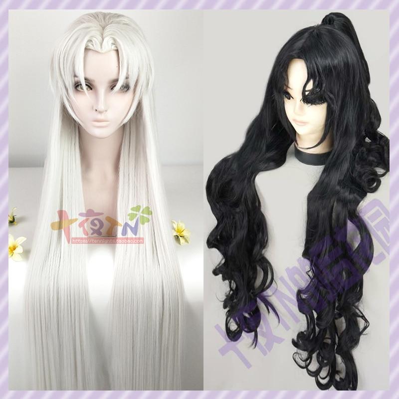Custom Styled Inuyasha Naraku Sesshomaru Cosplay Costume wig Party Black 1M Silvery Hair wig cap track