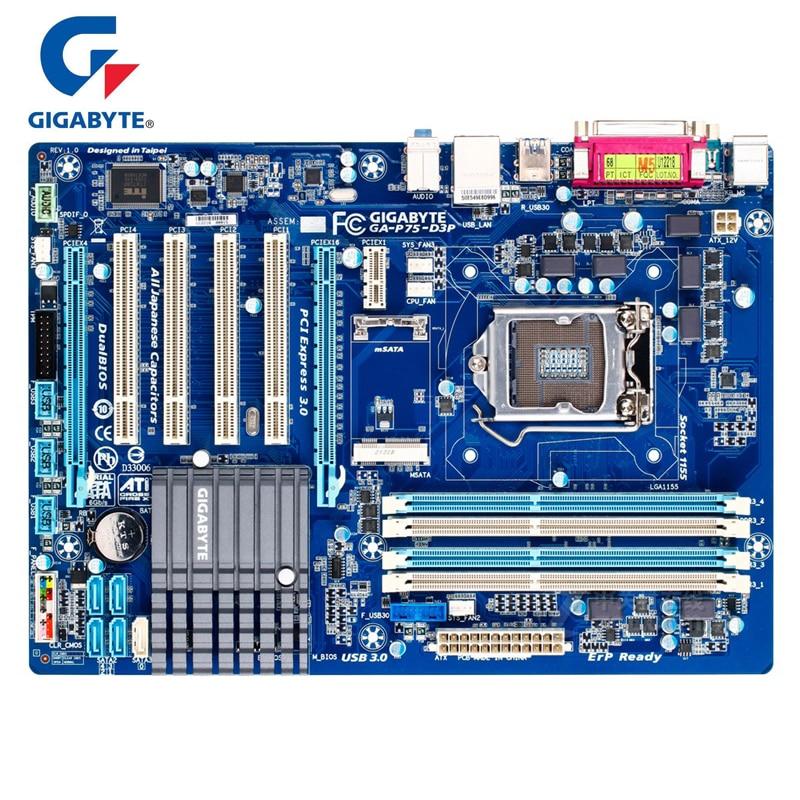 Gigabyte GA-P75-D3P Original Motherboard rev.1.0 LGA 1155 DDR3 USB2.0 USB3.0 SATA3 P75 D3 32GB Intel B75 22nm Main board P75 D3P dhl ems sbc advantech pca 6148 rev a101 1 bios rev 2 00 am5x86 p75 s 133mhz cpu 8mb c3 d9