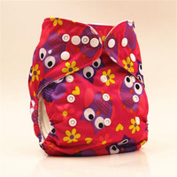 New 2017 Washable Baby Cloth Diaper Cover Waterproof Cartoon Owl Baby Diapers Reusable Cloth Nappy Suit 0-2 years Old 3-13kg