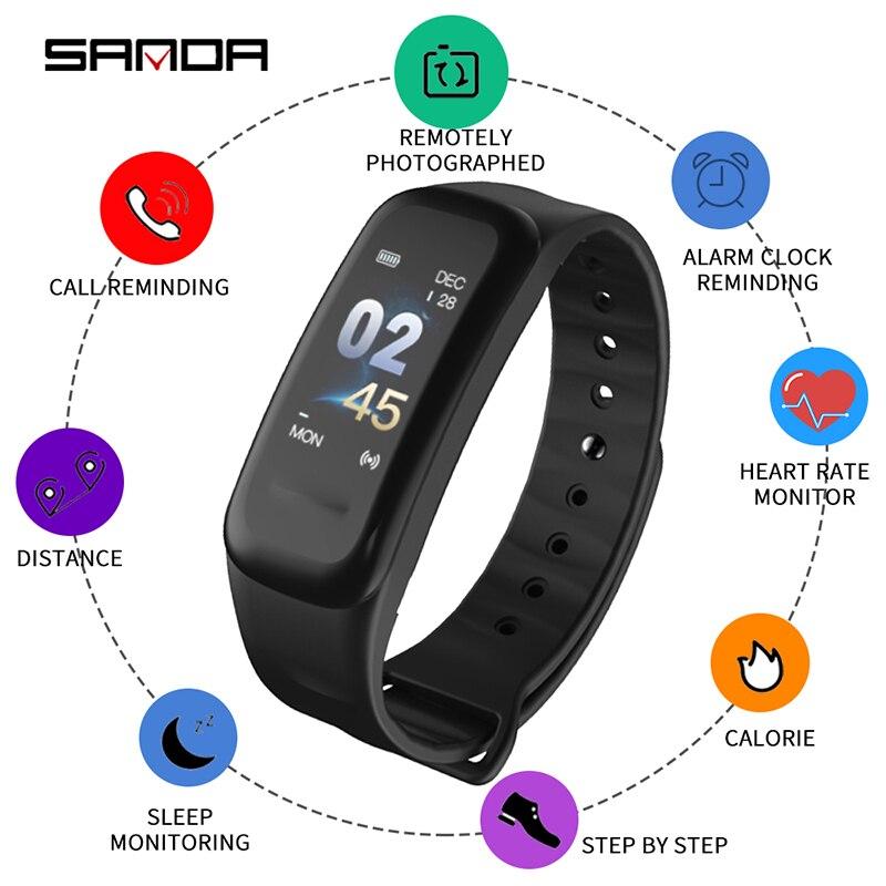 SANDA Bluetooth Smartwatch Deporte Fitness inteligente Reloj de las mujeres de los hombres inteligentes relojes de pulsera para iPhone, Android, IOS, Reloj de Mujer