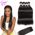 8A Brazilian Virgin Hair Straight With Closure Brazilian Virgin Hair With Closure 4 Bundles Straight Human Hair With Closure