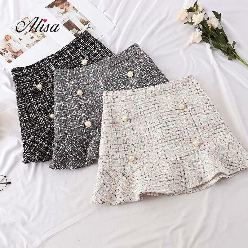 2018 Autumn New Korean Skirt Women Hight Waist Solid Mini Skirt Elegant Ladies Button  Lotus Leaf  Woollen Wrap Skirts Femininas