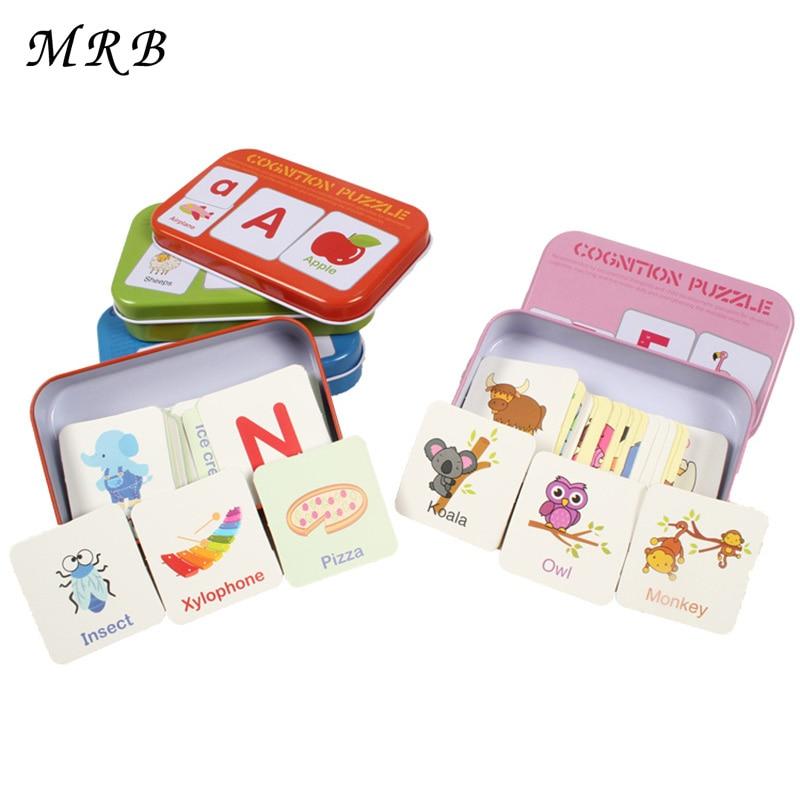 Baby Kids hračka Angličtina kognitivní karta Digitální krabice Papír Cartoon zvířata Alphanumeric Matching Montessori Vzdělání Puzzle Dárky