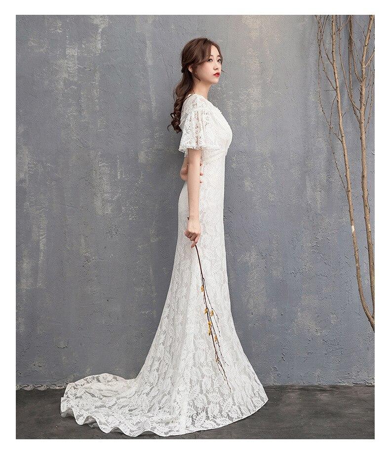 Delle donne lungo della sirena del merletto da sera vestiti da partito convenzionale pretty black prom dresses - 5