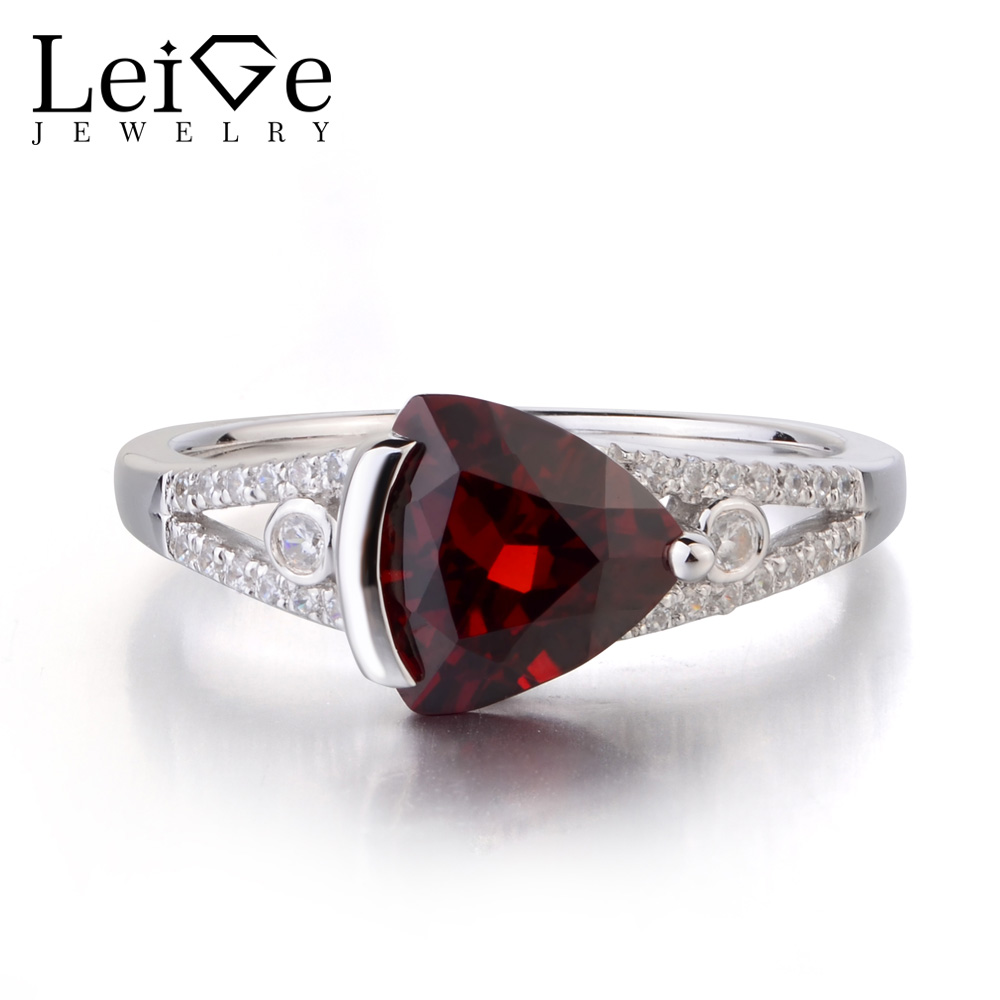 Leige Jewelry Natural Garnet Solid 925 Sterling Silver Ring Red Gemstone Birthstone Trillion Cut Promise Wedding Rings for HerLeige Jewelry Natural Garnet Solid 925 Sterling Silver Ring Red Gemstone Birthstone Trillion Cut Promise Wedding Rings for Her