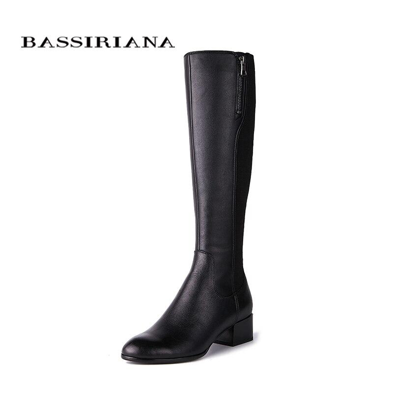 BASSIRIANA novo 2018 Sapatos de Couro genuíno botas altas botas Stovepipe trecho para perna fina da mulher da Mola 35-40 Preto Livre grátis