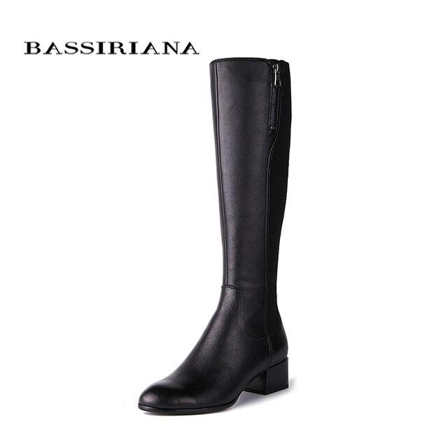 Bassiriana/Новые 2018 из натуральной кожи высокие сапоги Классические каблуки Обувь женщина круглый носок Zip Весна 35-40 черный Бесплатная доставка