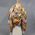 2016 Mulheres Cachecol de Inverno Quente Marca de luxo Longo Cachecol De Lã Mulheres Pashmina Foulard Xadrez cobertor de Cashmere Xales lenço Envoltório