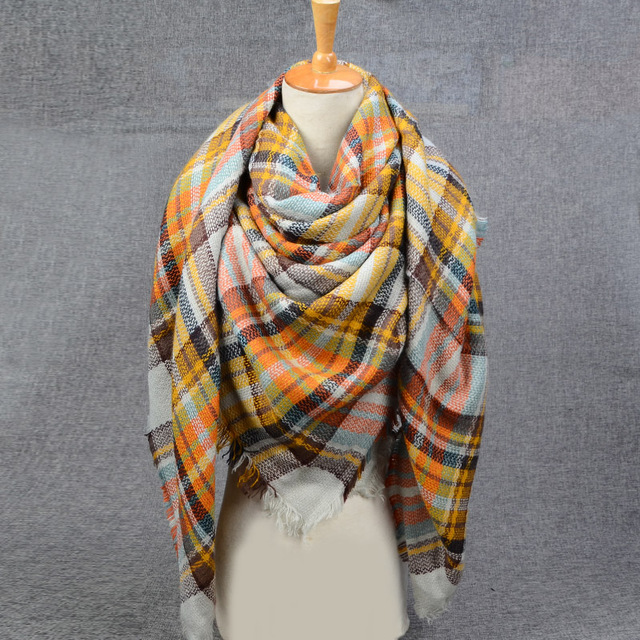 Orange Plaid Scarves | Blanket Scarves