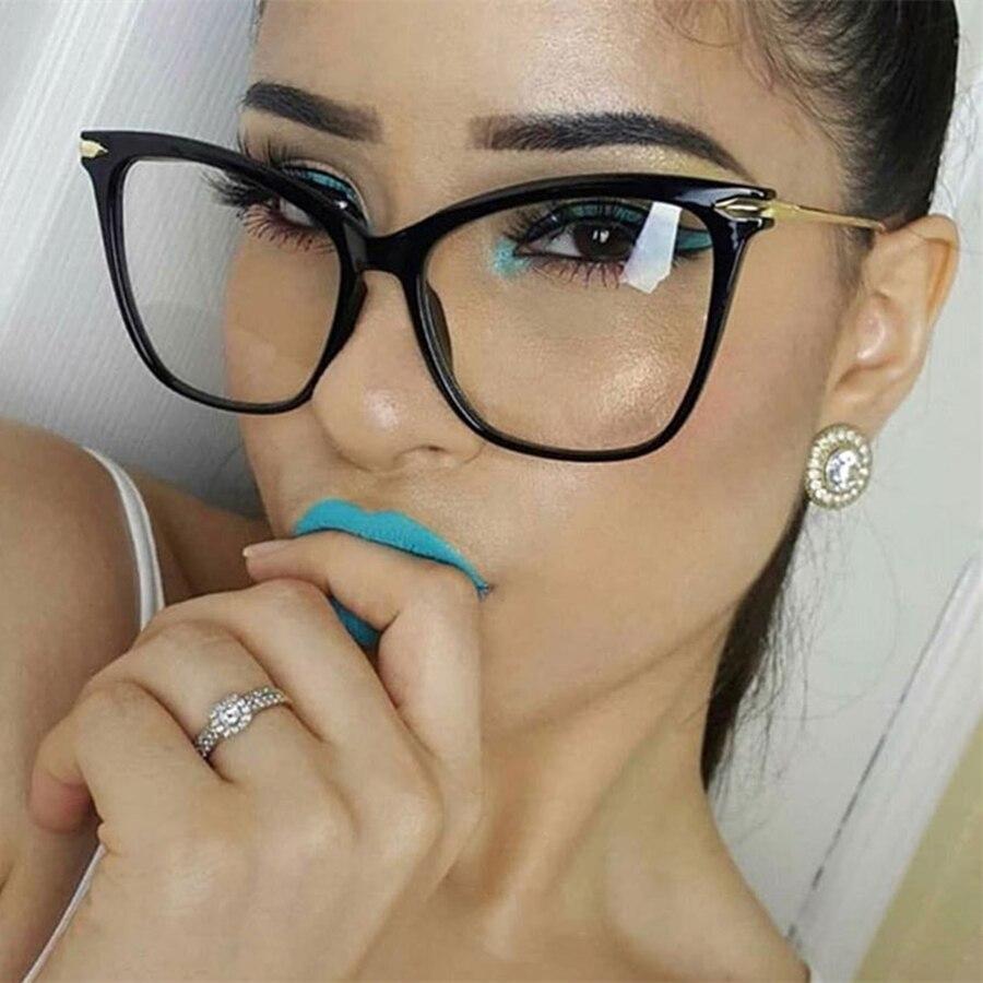 Frames Eyewear Optical-Eyeglasses Oversized Sexy Fashion Brand-Designer Women For Metal