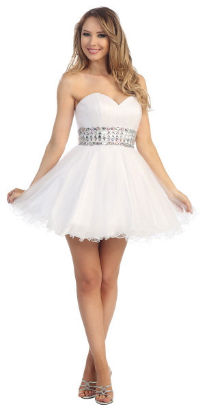 White Silver Coral Short Puffy Prom Dress Sweetheart Simple ...