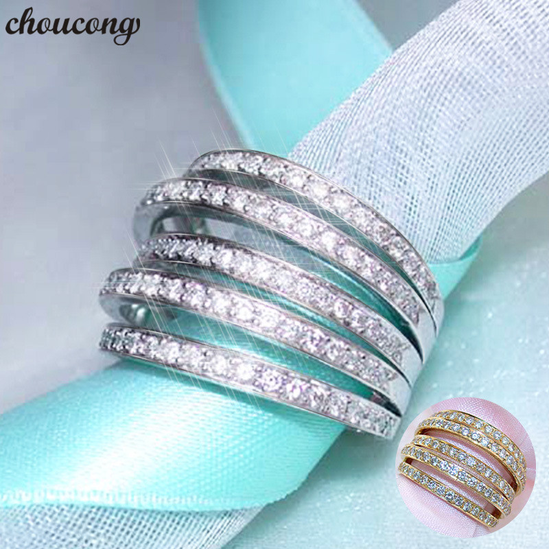 choucong Cross line Ring White Rose Gold Filled Pave setting AAAAA cz Engagement Wedding Band Rings For Women Finger Jewelry
