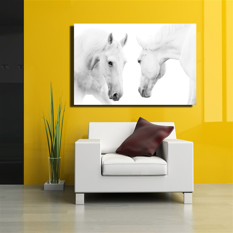 Canvas Art Animal White Horses Decorative Wall Art Picture Home ...