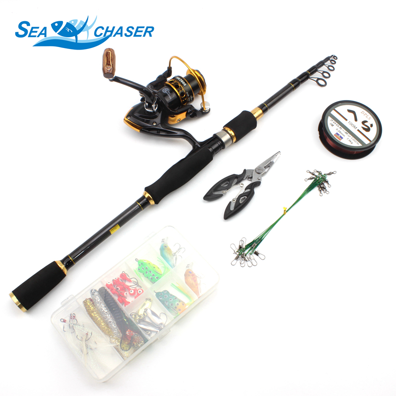 NEW 1 8M 2 7M telescopic carbon fishing lure Spinning Rod and reel Set Lures combination