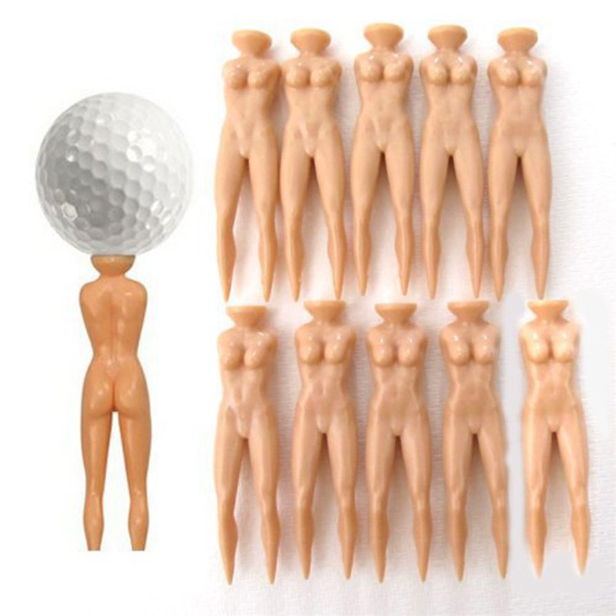 10Pcs/lot Plastic Novelty Joke Naked Nude Lady Golf Tee Practice Training Golf Tees bulk 70mm 2 3 4 5 6 7 r  free shipping(China)