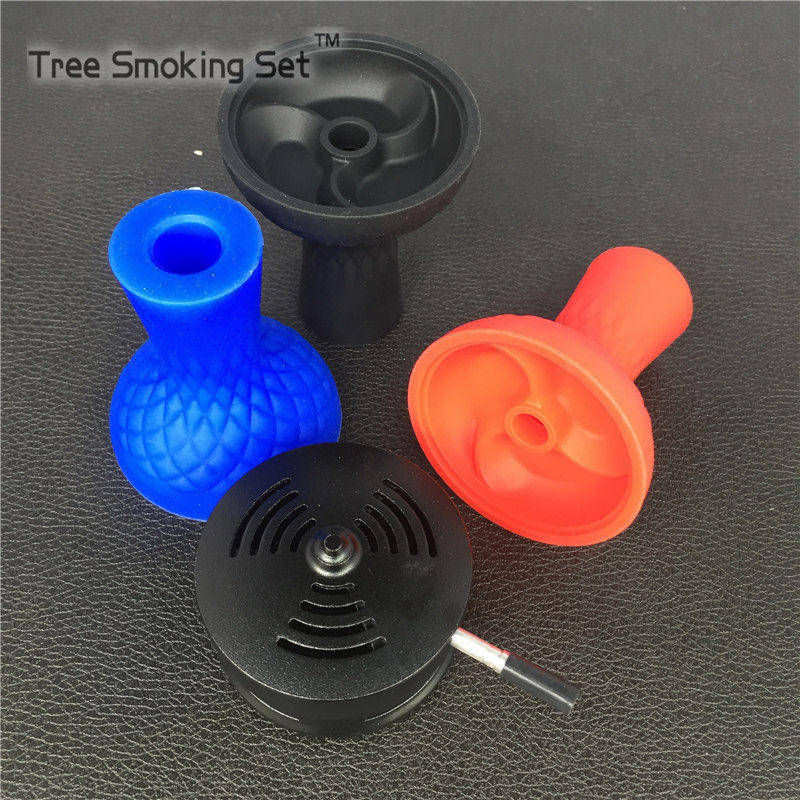 1 pcs Silicone Hookah Bowl with 1pcs Silver kloud Charcoal Holder Coal Heater One Handle Aloud Lotus Charcoal Hookah Accessories