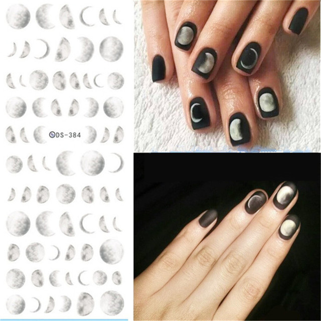 1 Sheet Grant Moon Nail Sticker Water Decals Decorations Plastic Nails Transfer Art