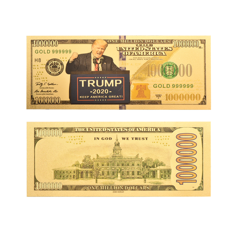WR Gold Banknote US President Donald <font><b>Trump</b></font> <font><b>2020</b></font> Campaign Colorful Gold Plated Fake Money 1 Million Collection Business Gifts image