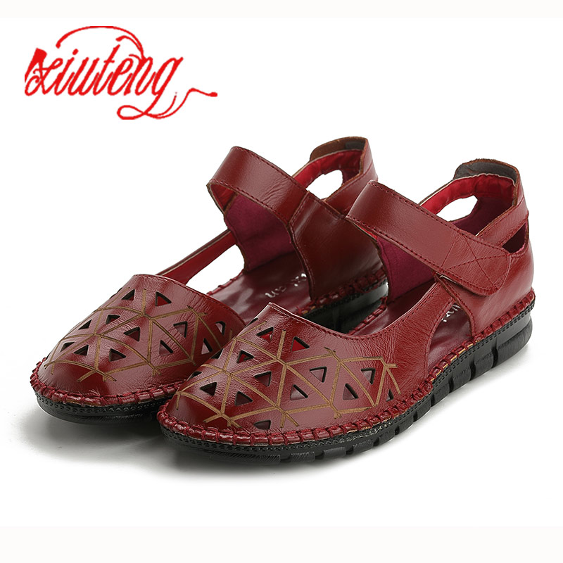Xiuteng Genuine Leather Sandals Women Hole Breathable sole Sandalias Wear resistant Summer Flip Flop Slippers Hollow