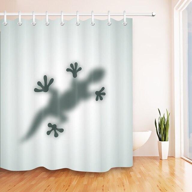 LB Gecko Shadow Footprint Shower Curtain Liner Extra Long Bathroom Waterproof Washable Fabric For Art Bathtub