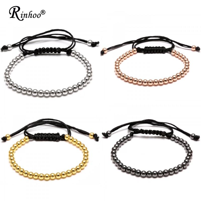 Rinhoo Handmade 4MM Beads Balls Braided Macrame Charm Wrap Cord Beaded Bracelet Bangles Adjustable Rope Jewelry For Men Women