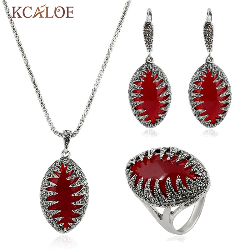 KCALOE Red Stone Jewelry Sets Vintage Silver Color Black Rhinestone Necklace Earrings Ring Jewellery Parure Bijoux Femme